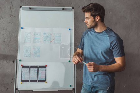 Photo pour Side view of beautiful designer planning website wireframe sketches for user experience design on whiteboard - image libre de droit