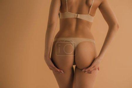 Photo pour Vue arrière de fille sexy en lingerie isolée sur beige - image libre de droit