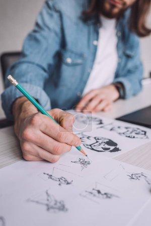 Photo pour Crochet vue de l'illustrateur dessin de dessins animés sur papier - image libre de droit