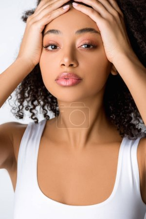 Photo for Portrait of attractive african american girl, isolated on grey - Royalty Free Image