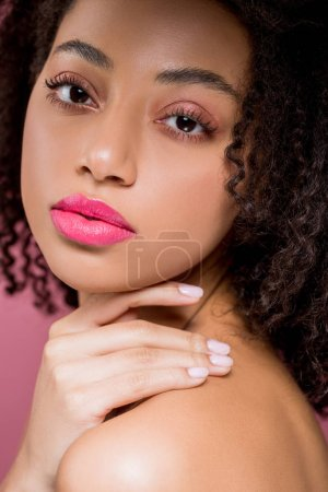 Photo for Portrait of beautiful african american girl, isolated on pink - Royalty Free Image