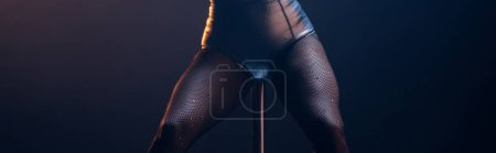 Photo for Panoramic shot of stripper standing near pole isolated on black - Royalty Free Image