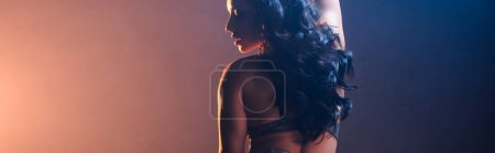 Photo for Panoramic shot of attractive stripper on blue and orange - Royalty Free Image
