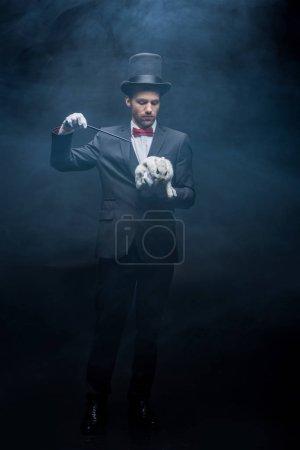 Photo pour Jeune magicien professionnel en costume et chapeau montrant tour avec baguette et lapin blanc, chambre sombre avec fumée - image libre de droit