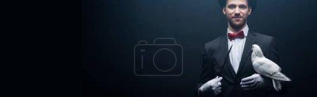 Photo pour Plan panoramique de magicien souriant dans un chapeau montrant tour avec colombe et baguette dans une pièce sombre avec fumée - image libre de droit