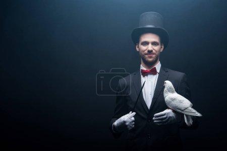 Photo pour Magicien souriant dans le chapeau montrant tour avec colombe et baguette dans la pièce sombre avec fumée - image libre de droit