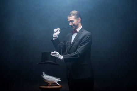 Photo pour Magicien joyeux montrant tour avec colombe, baguette et chapeau dans la pièce sombre avec de la fumée - image libre de droit