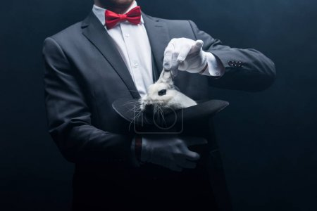 Photo pour Vue recadrée du magicien professionnel montrant tour avec lapin blanc dans le chapeau, dans la pièce sombre avec de la fumée - image libre de droit