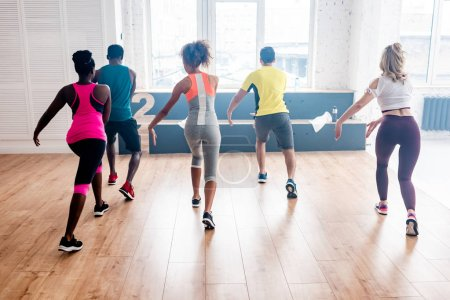 Photo pour Back view of young multicultural dancers practicing zumba together in dance studio - image libre de droit