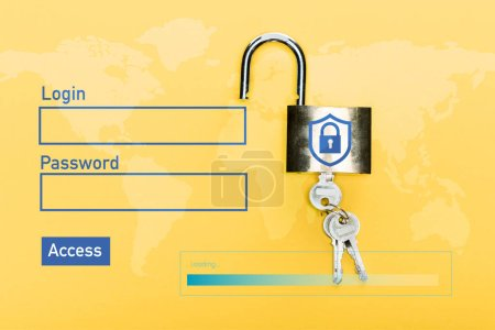 top view of locker with keys near login, password and access lettering on yellow
