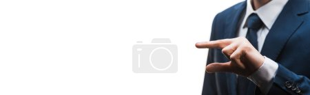 Photo for Panoramic shot of businessman gesturing isolated on white - Royalty Free Image
