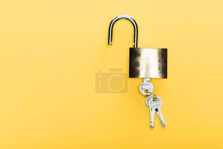 top view of locker with keys isolated on yellow