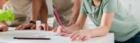 Photo for Panoramic shot of kid drawing picture near homosexual parents - Royalty Free Image