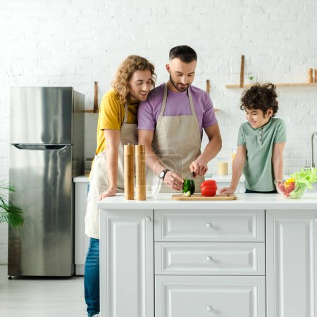 happy mixed race kid near handsome homosexual parents cooking in kitchen