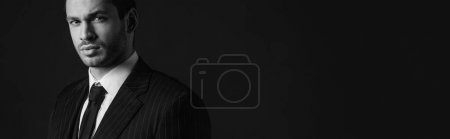 Photo for Monochrome image of confident mafioso isolated on black, panoramic shot - Royalty Free Image