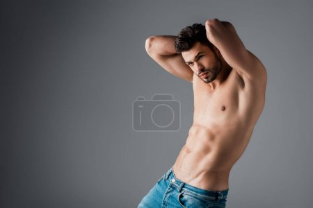 handsome sexy shirtless man in jeans on grey