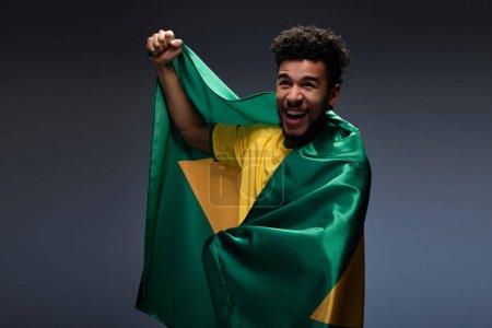 Photo pour Fan souriant de football afro-américain enveloppé dans le drapeau brésilien sur gris - image libre de droit