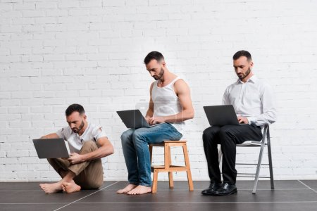Photo for Collage of bearded man using laptop near brick wall, evolution concept - Royalty Free Image