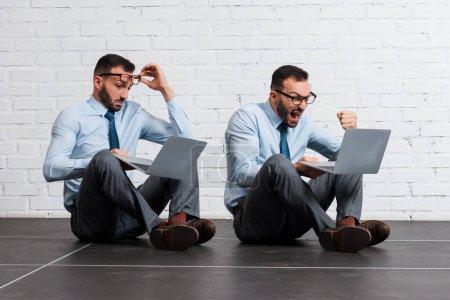Photo pour Collage de l'homme d'affaires émotionnel et barbu en utilisant un ordinateur portable près du mur de briques, concept d'évolution - image libre de droit