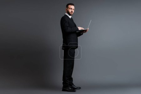 hombre de negocios guapo en traje usando el ordenador portátil en gris