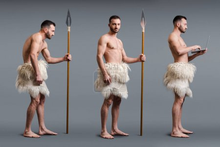 Photo for Collage of muscular caveman with spear and laptop on grey, evolution concept - Royalty Free Image