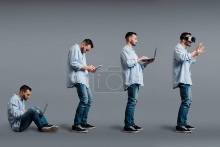 collage of bearded man using gadgets on grey, evolution concept