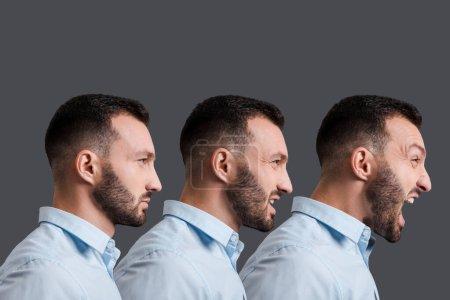 Photo pour Collage d'homme barbu et en colère criant isolé sur gris - image libre de droit