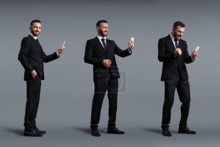 Photo pour Collage d'homme d'affaires heureux en utilisant smartphone sur gris, concept d'évolution - image libre de droit
