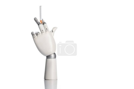 Photo for Robotic hand holding cigarette isolated on white - Royalty Free Image