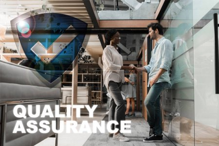 young african american businesswoman shaking hands with handsome colleague, quality assurance illustration