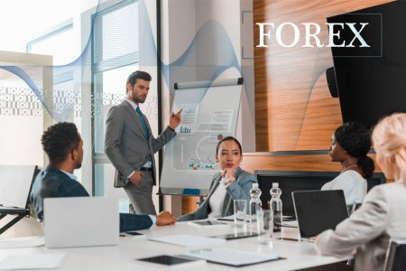 Photo for Handsome businessman pointing with finger at flipchart with infographics while multicultural colleagues sitting at desk in conference hall, forex illustration - Royalty Free Image