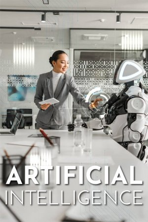Photo pour Attractive asian business woman operating robot while holding digital tablet, Artificial Intelligence illustration - image libre de droit