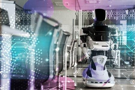Photo pour Focus sélectif du robot humanoïde debout dans la salle de conférence du bureau moderne, illustration cybernétique - image libre de droit