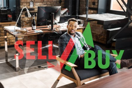 Photo for Smiling african american businessman sitting in armchair and looking at camera, trading illustration - Royalty Free Image