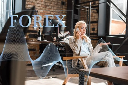 Photo for Selective focus of serious businesswoman sitting in armchair with open arm and talking on smartphone, forex illustration - Royalty Free Image