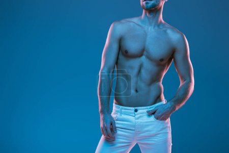Photo for Cropped view of sexy shirtless man in white jeans holding hand in pocket isolated on blue - Royalty Free Image