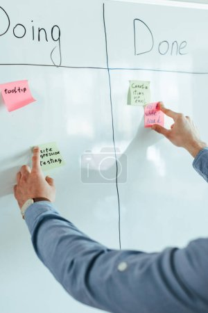 Photo for Cropped view of scrum master putting stickers on white board with spreadsheet with doing and done lettering - Royalty Free Image