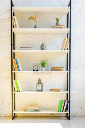 Photo pour Étagères avec livres, horloge, lanterne, plantes de maison et tête de bouddha - image libre de droit