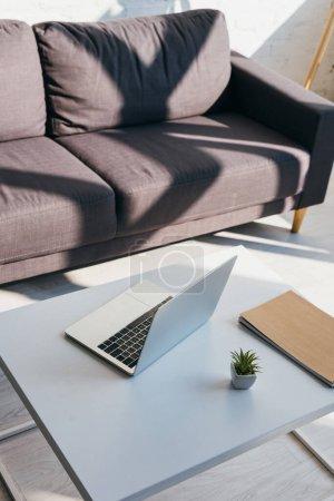 Photo pour Salon avec canapé gris et table avec ordinateur portable, bloc-notes et succulente lumière du soleil - image libre de droit