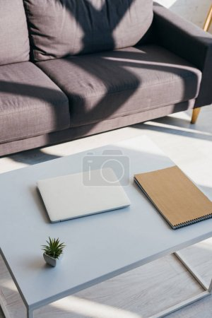 grey sofa and table with laptop, notepad and house plant in sunlight