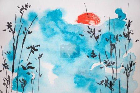 Photo pour Peinture japonaise avec ciel bleu, soleil et branches sur fond blanc - image libre de droit