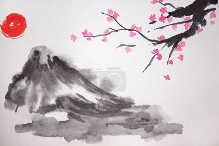 Photo pour Peinture japonaise avec soleil, branches de colline et de Sakura sur fond blanc - image libre de droit