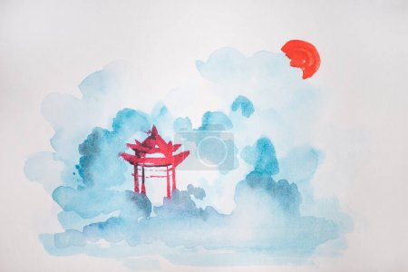 Photo for Japanese painting with temple on white background - Royalty Free Image