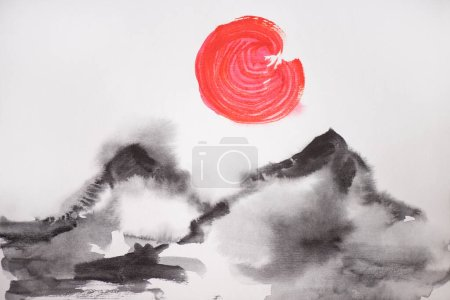 Photo for Japanese painting with sun and hills on white background - Royalty Free Image