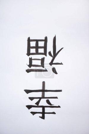 Photo for Painted japanese hieroglyphs on white background - Royalty Free Image