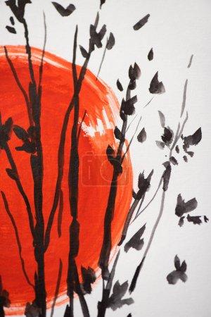 Photo pour Peinture japonaise avec soleil rouge et branches sur fond blanc - image libre de droit