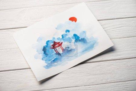 Photo pour Vue grand angle du papier avec peinture japonaise avec temple sur fond en bois - image libre de droit