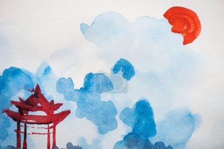 Photo pour Peinture japonaise avec temple, soleil et nuages sur blanc - image libre de droit