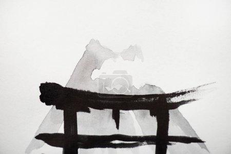 Japanische Malerei mit Hieroglyphe auf Weiß