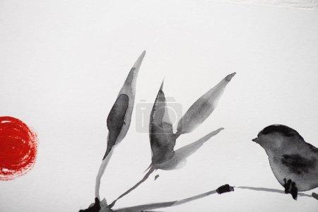 Photo pour Peinture japonaise avec oiseau sur branche et soleil sur fond blanc - image libre de droit